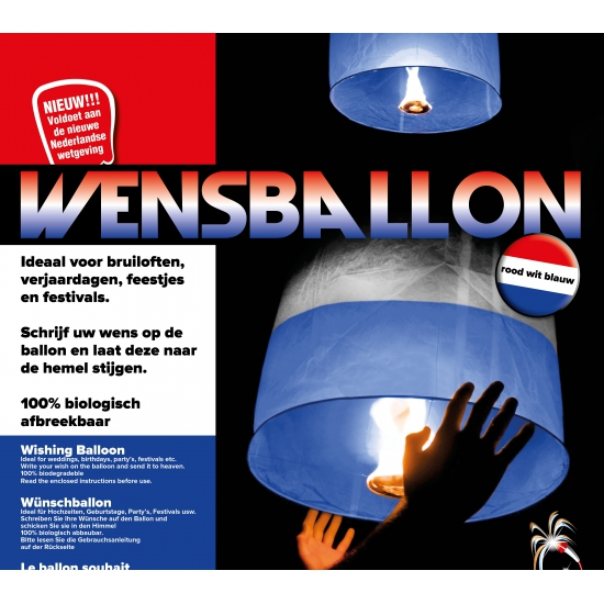 Voetbal wensballonnen rood wit blauw