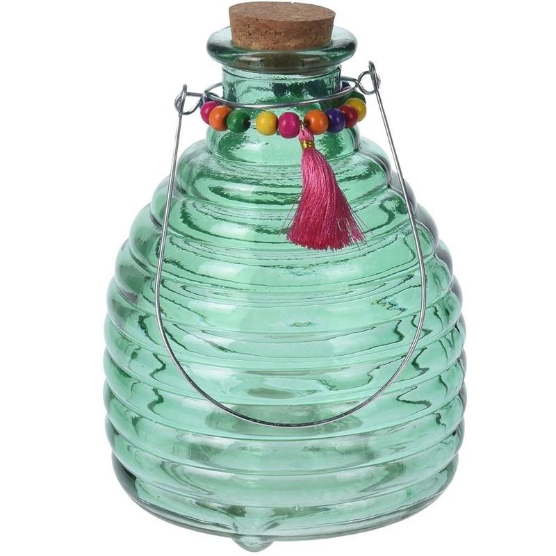 Tuin artikelen Geen Wespenvanger van groen glas 18 cm