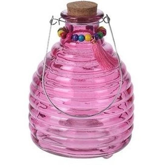 Tuin artikelen Geen Wespenvanger van roze glas 18 cm