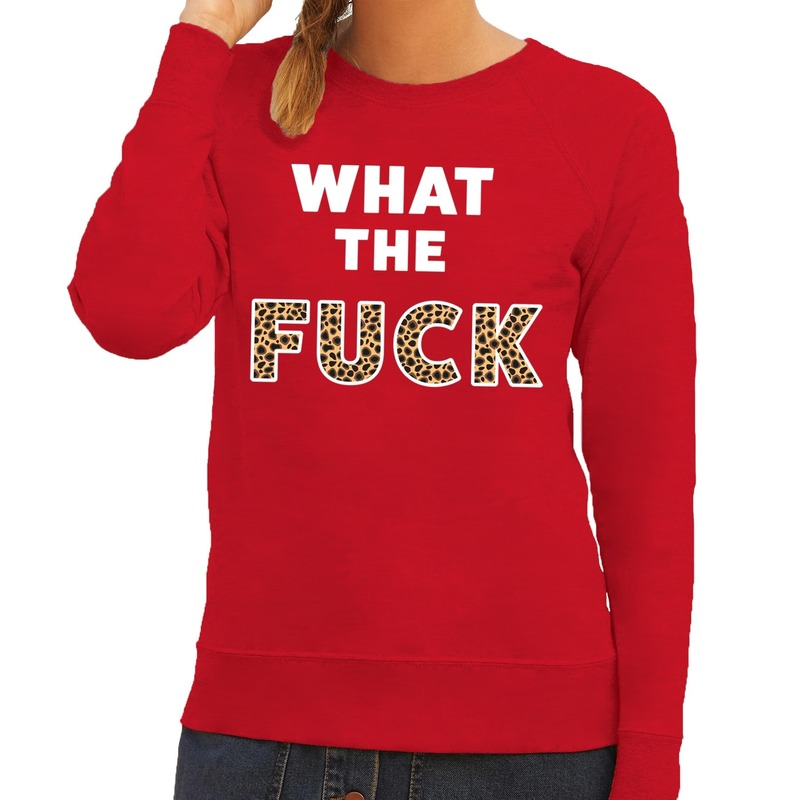 What the Fuck tijger print tekst sweater rood voor dames