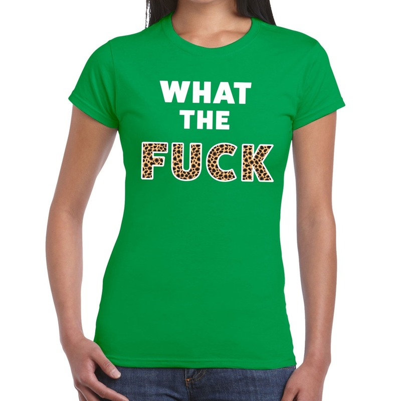 What the Fuck tijger print tekst t-shirt groen dames
