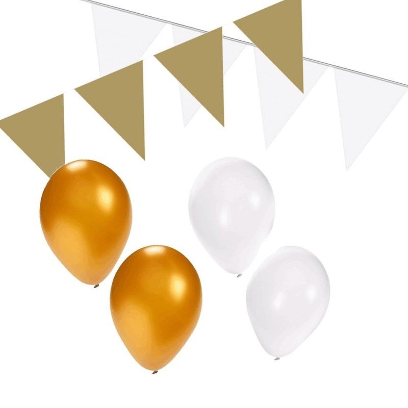 Wit-Gouden feest versiering pakket small