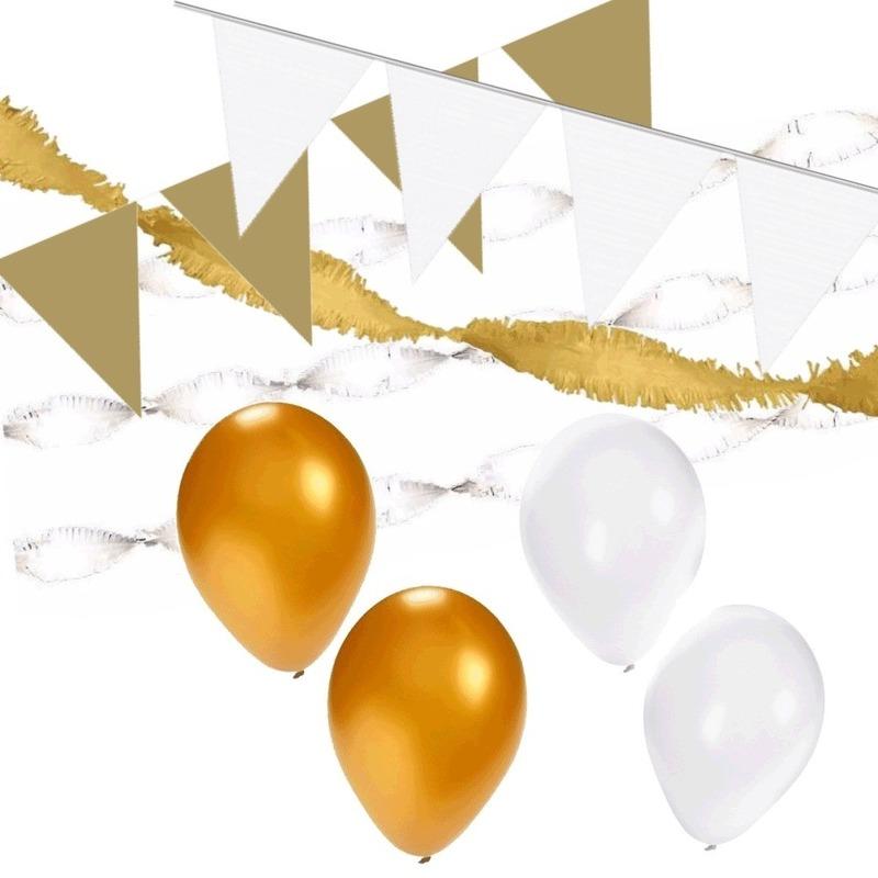 Wit-Gouden feest versiering pakket XL