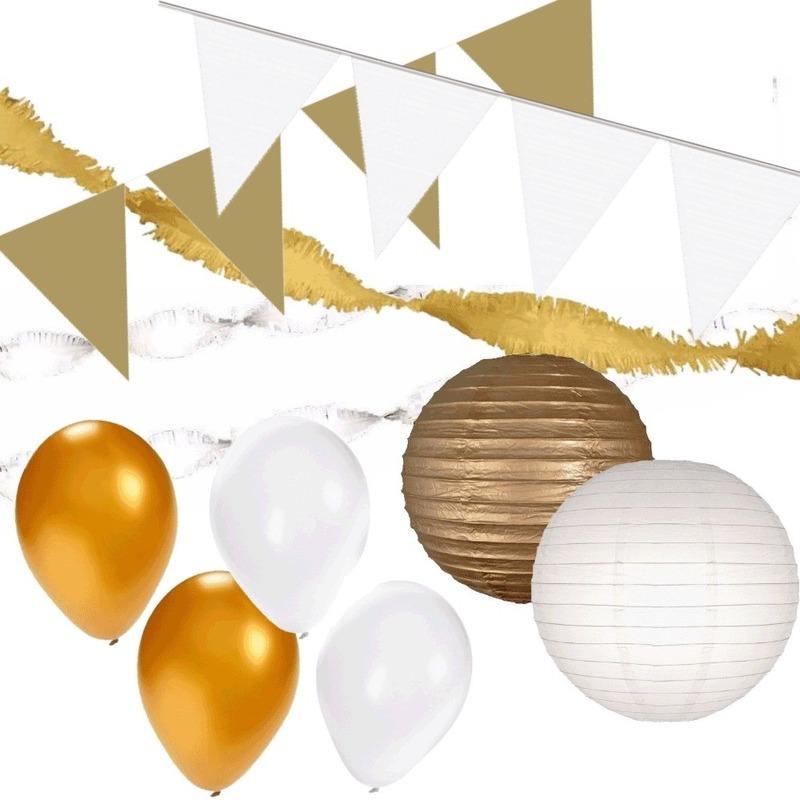 Wit-Gouden feest versiering pakket XXL