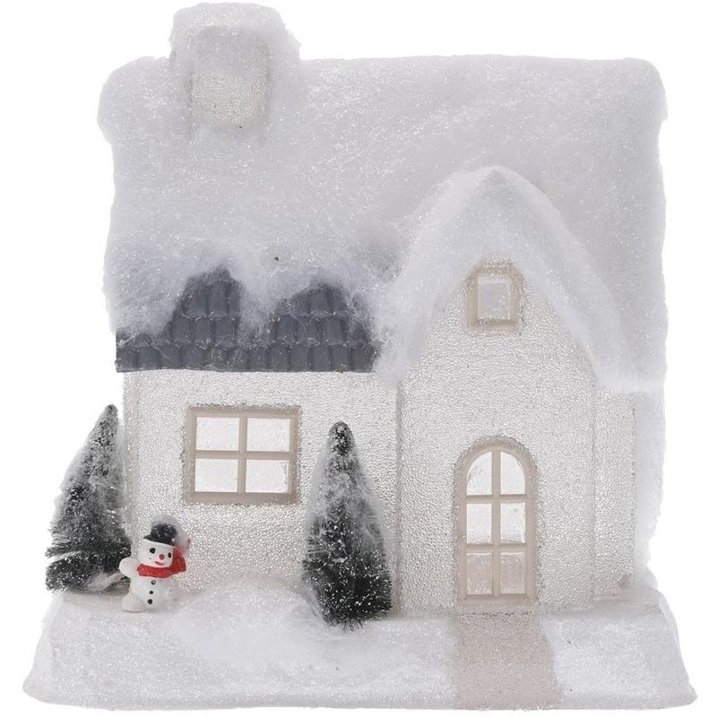 Wit kerstdorp huisje 25 cm type 2 met LED verlichting
