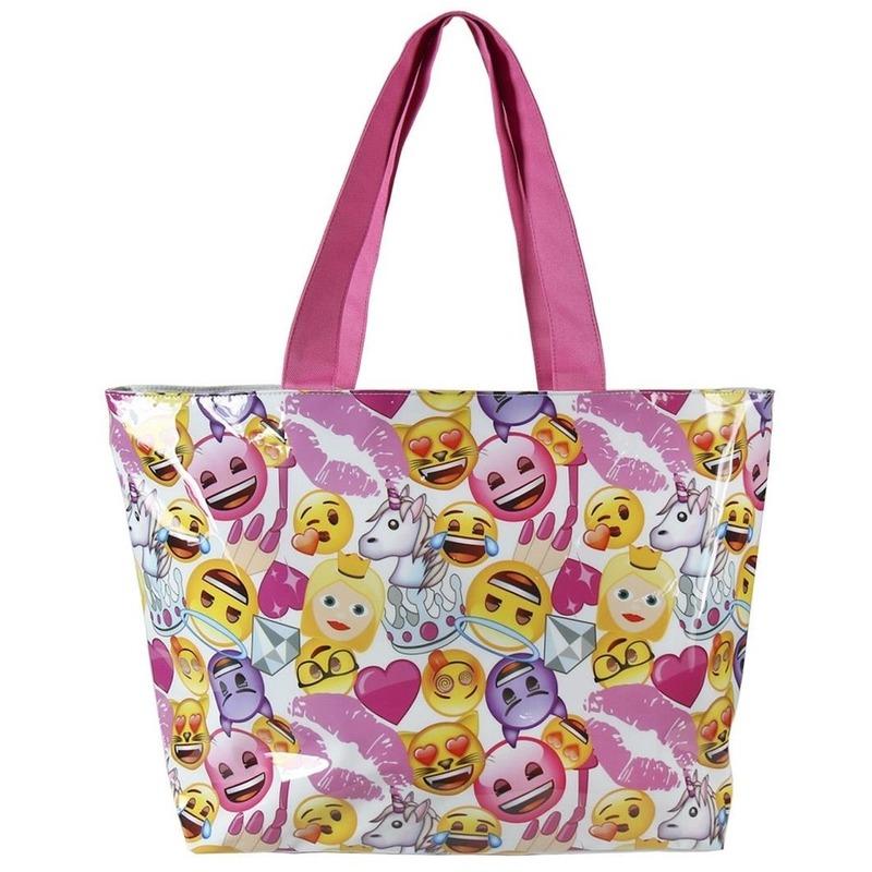 Wit-roze emoji-smiley strandtas-zwemtas voor meisjes 48 cm