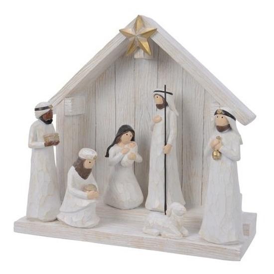 Witte kerststal met 7 figuren-kerstbeelden 10 cm