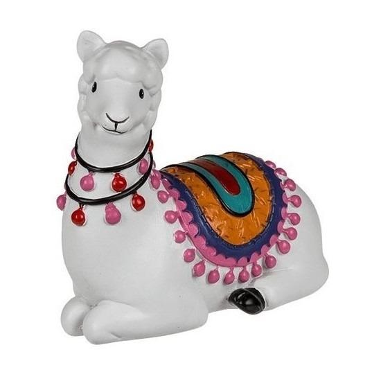 Witte liggende alpaca-lama beeldje 9 cm