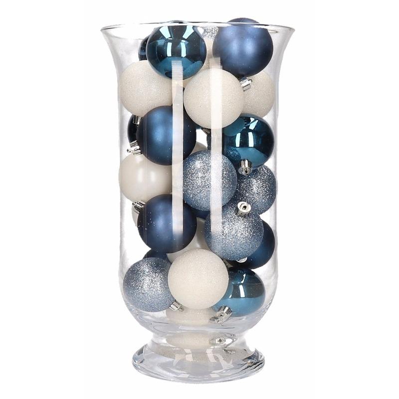 Woondecoratie blauw-witte kerstballen in vaas
