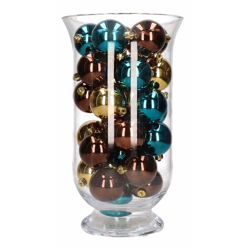 Woondecoratie bruin-gouden kerstballen in vaas