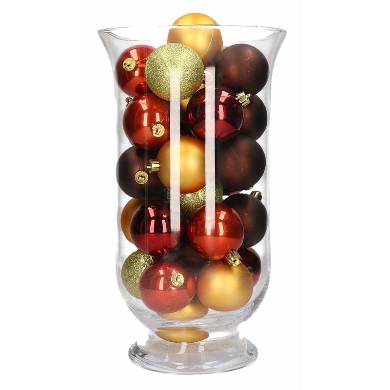 Woondecoratie rood-bruine kerstballen in vaas