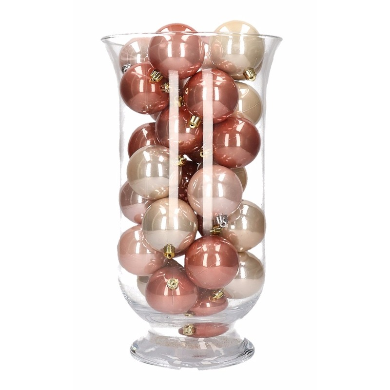 Woondecoratie roze mix kerstballen in vaas