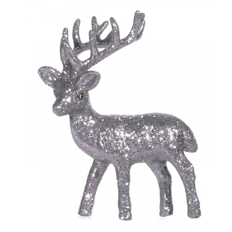 Zilver glitter deco rendier 10 cm