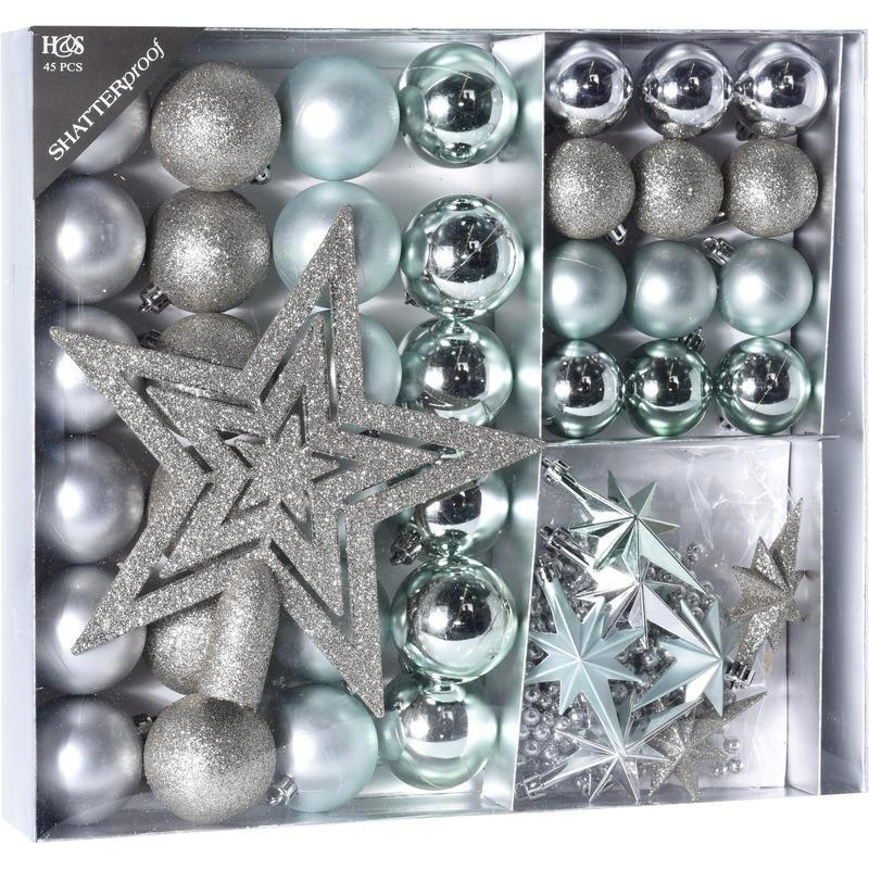 Zilver-ijsblauwe kerstversiering kerstballen set 45 delig