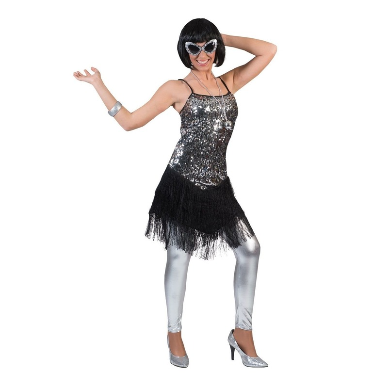 Zilver-zwart charleston verkleed jurkje voor dames
