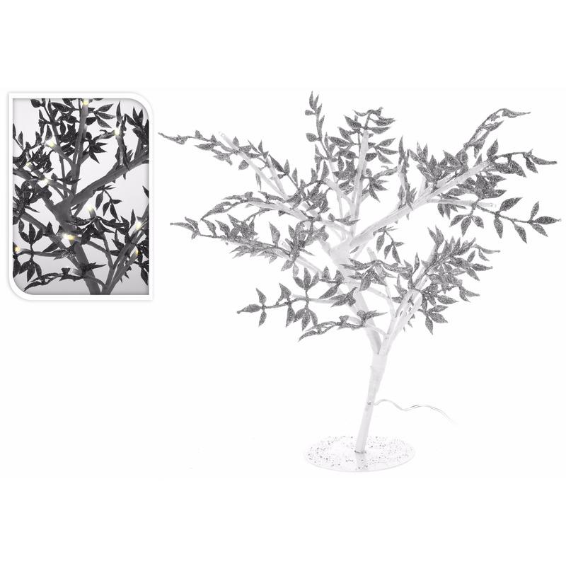 Zilveren boompje met LED lichtjes 47 cm