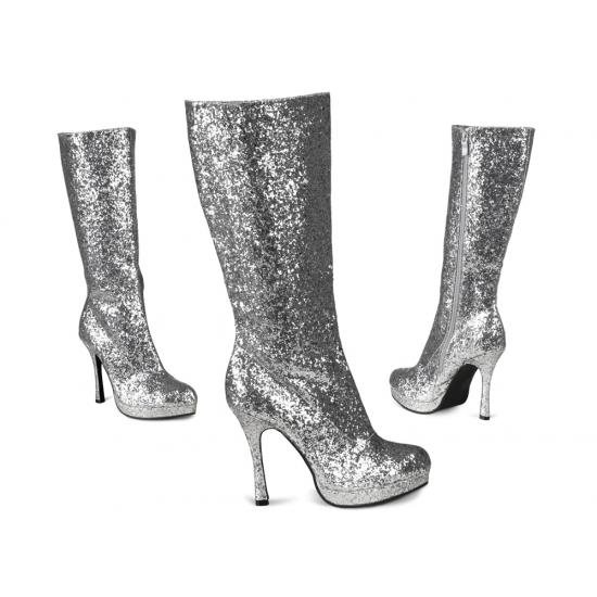 Hoge laarzen met glitters zilver in Verkleedaccessoires winkel