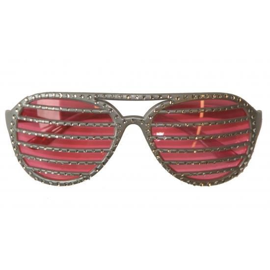 Zilveren lamel bril met diamanten