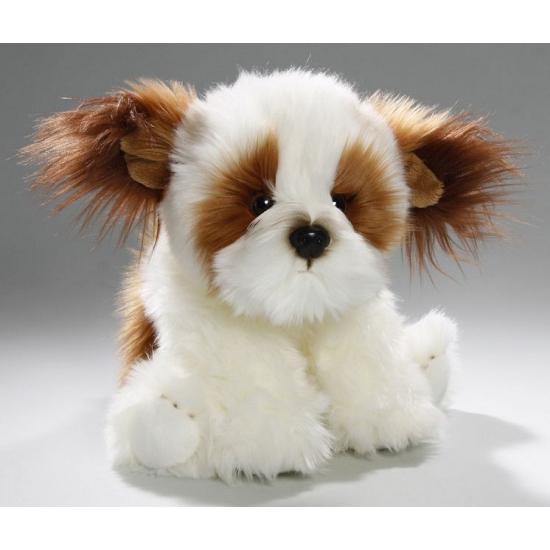 Zittende pluche knuffel shih tzu hond 24 cm