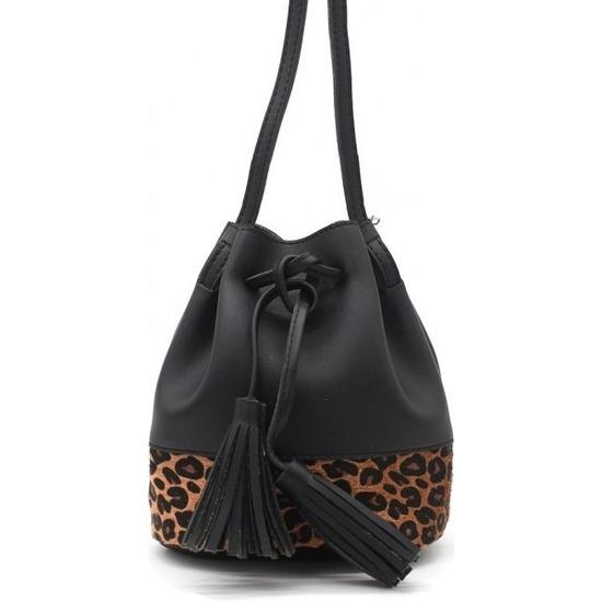 Zwart-bruin luipaardprint schoudertasje-bucket bag 30 cm