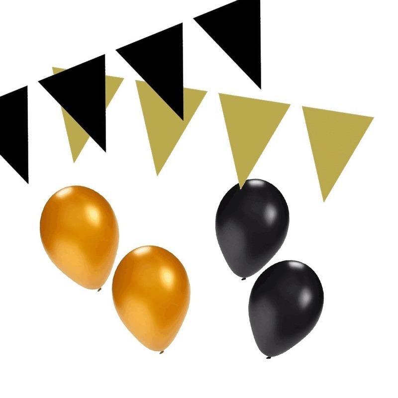 Zwart-Gouden feest versiering pakket small