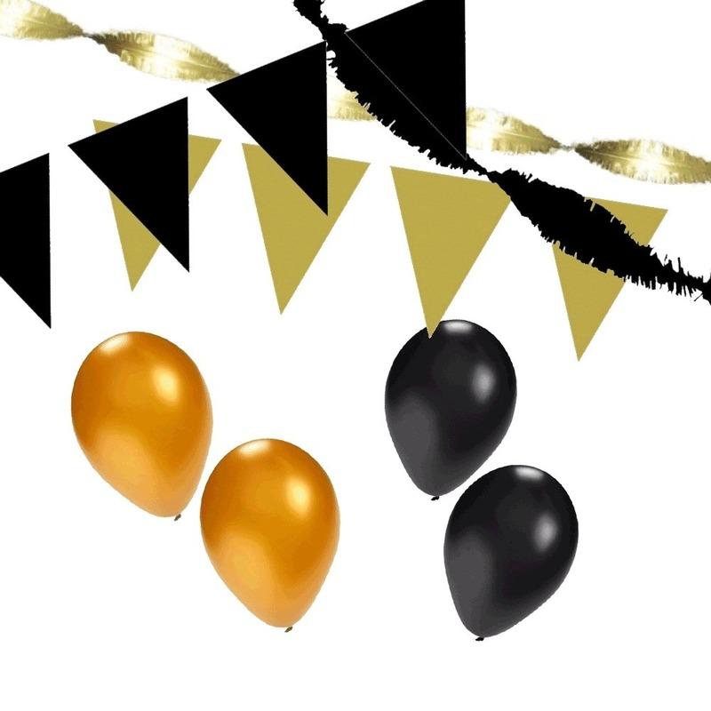 Zwart-Gouden feest versiering pakket XL