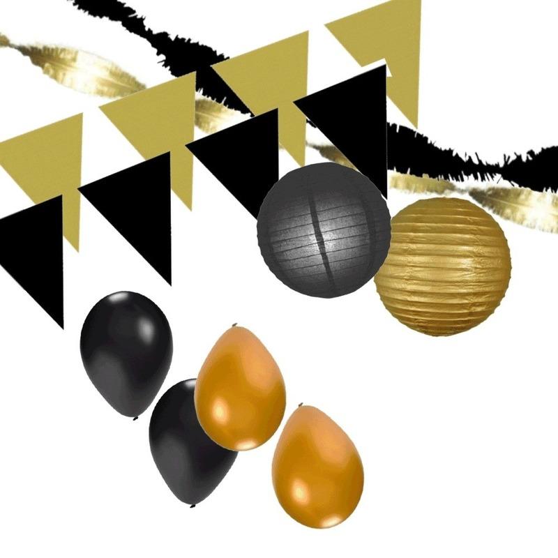 Zwart-Gouden feest versiering pakket XXL