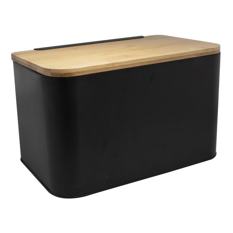 Zwart metalen broodtrommel met houten snijplank deksel 31 cm