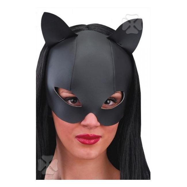 Kat masker met leder look. catwoman masker met leer look en twee oortjes.