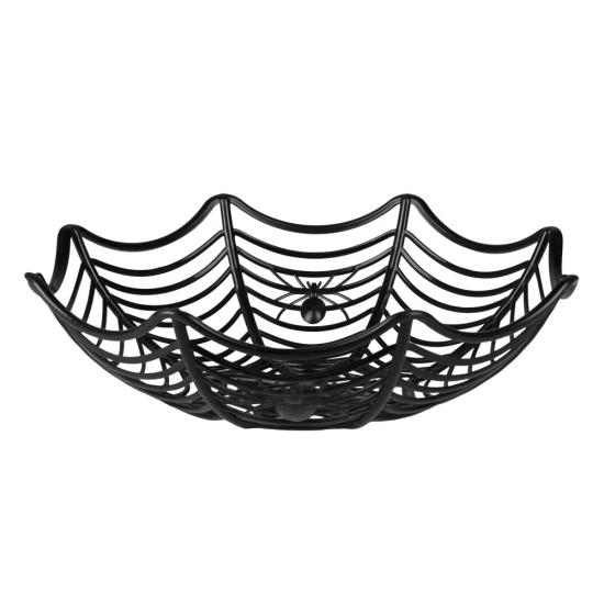 Zwarte decoratie schaal met spinnen 27 cm